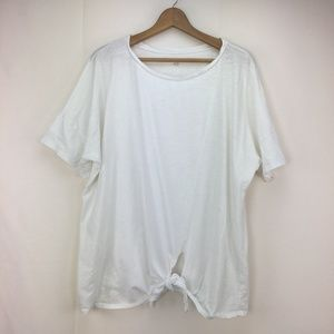 Eileen Fisher White Boat Neck Tie Front Boxy Top